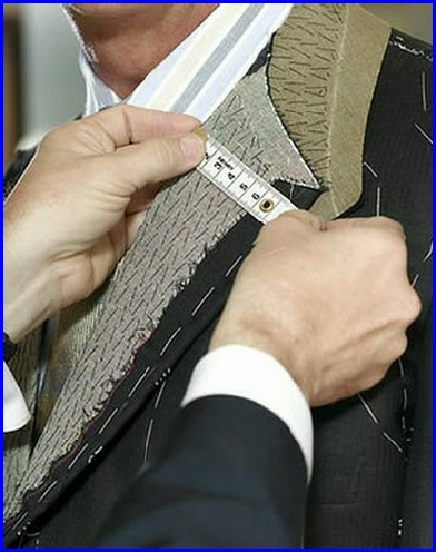 LEARN TO SEW - An image of a tailored jacket exposing the lapel fusings. A tape measure runs accross the lapel to get the exact size needed for alteration #learntosew #howtosew #learntosewonline.