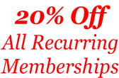 20% Off All Recurring Memberships
