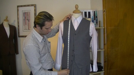 measuring the front panel of a waistcoat. #onlinesewingclasses.