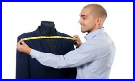 an image of a man measuring accross the shoulders of a tailored jacket #learntosew #howtosew.